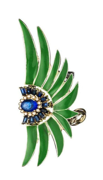Ear cuff in white gold set with white diamonds, blue sapphires and green enamel