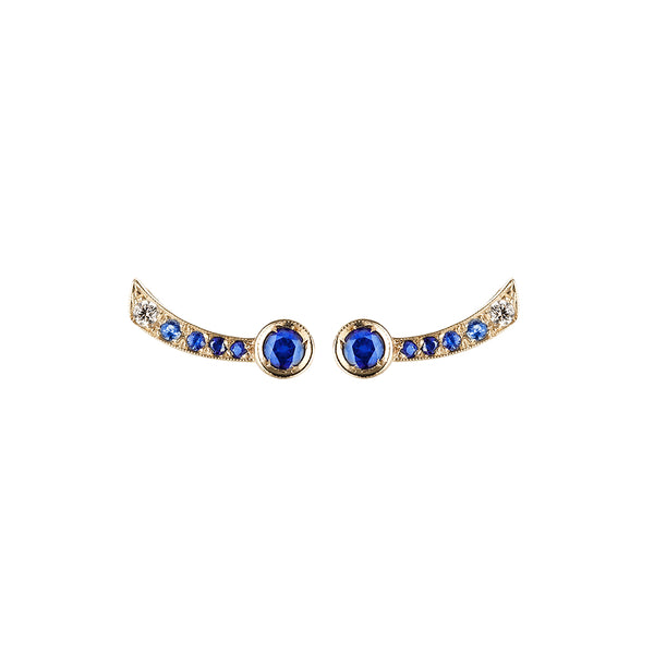 Earrings in white gold set with white diamonds and blue sapphires