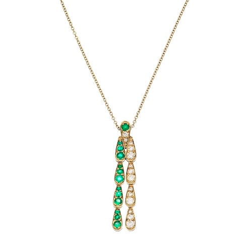 Pendant in white gold set with white diamonds and emeralds