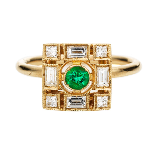 Diamond and Emerald Square Harlequin Ring