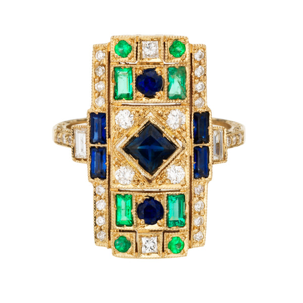 Emerald Harlequin Ring