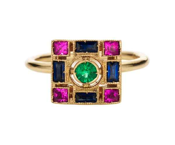 Ring in 18k white gold set with emeralds, blue and pink sapphires