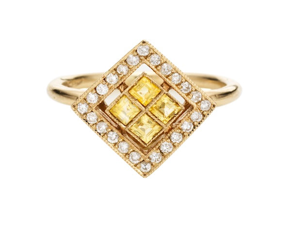 Ring in White Gold set with White Diamonds and Yellow Sapphire
