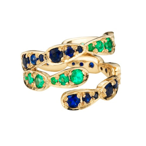 Ring in white gold set with emeralds and blue sapphires