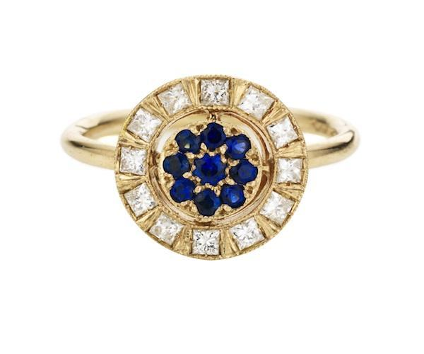 Ring in White Gold set with White Diamonds and Blue Sapphires