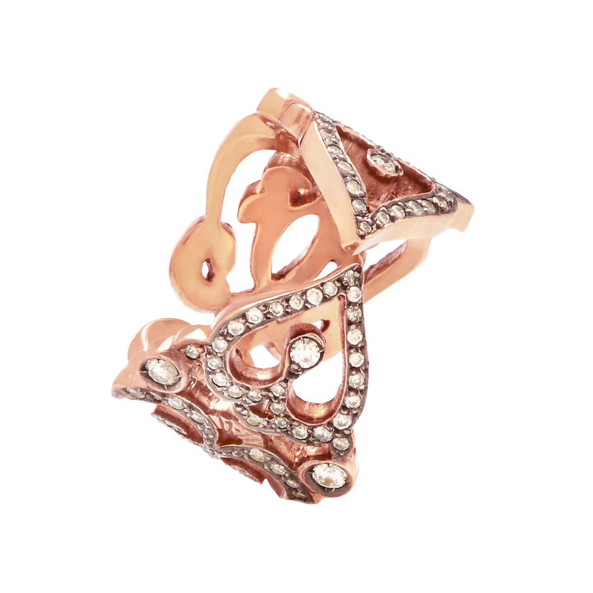 Ring 'heart' in 18k rose gold set with diamonds.