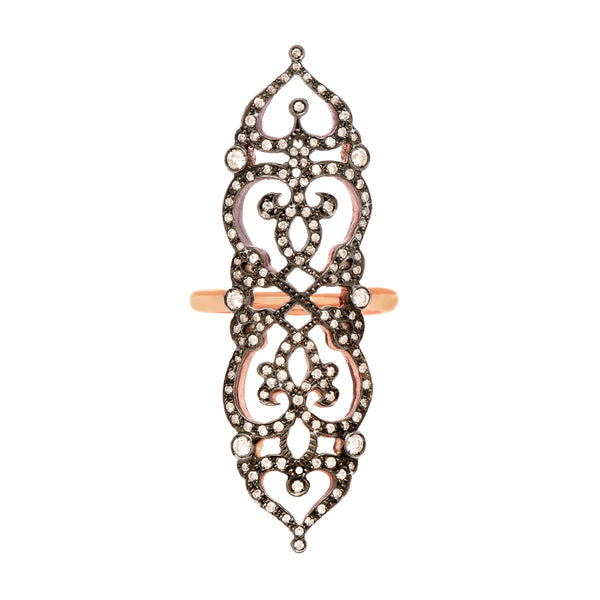 Ring 'medieval' in 18k rose gold set with diamonds