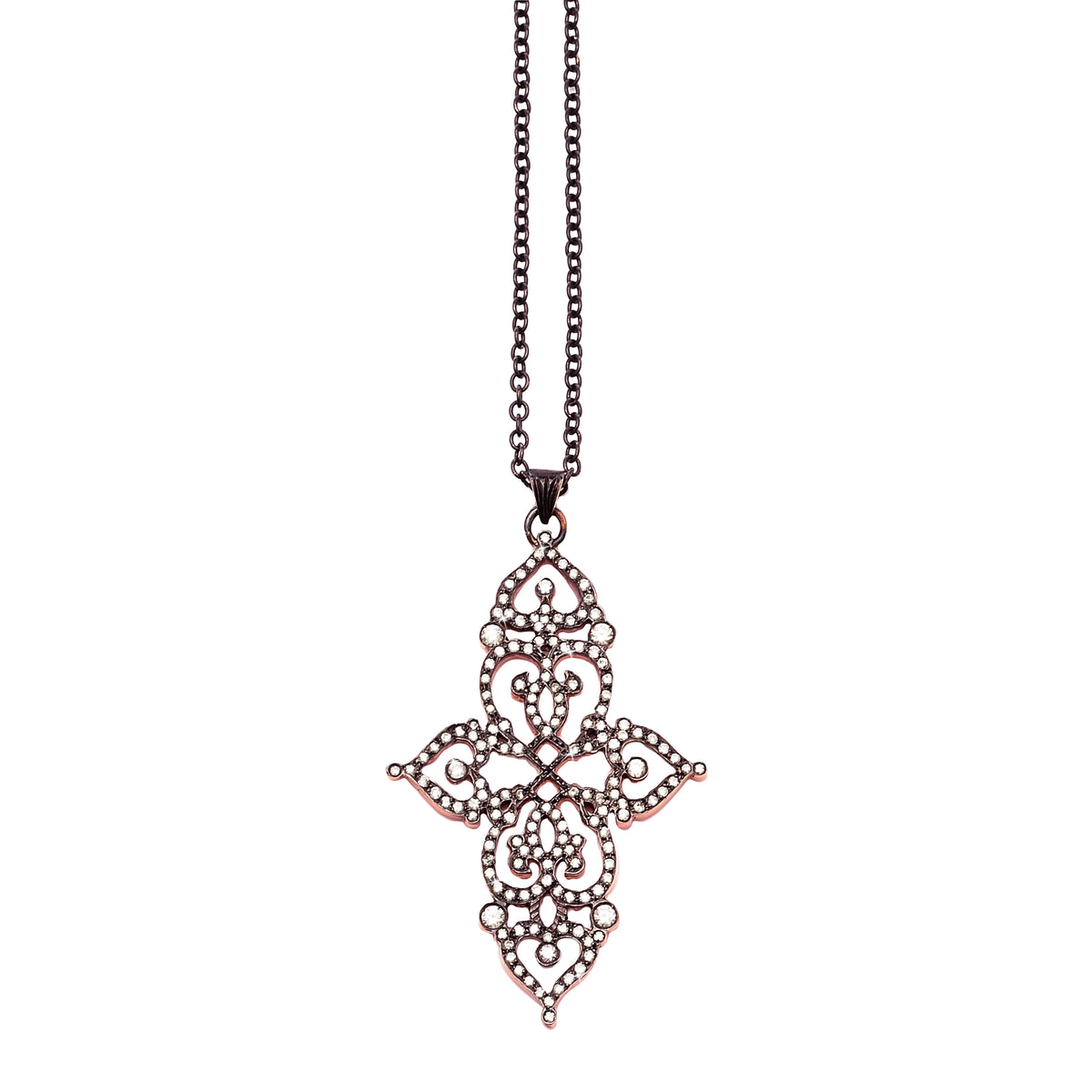 Pendant 'cross' with 18k rose gold chain