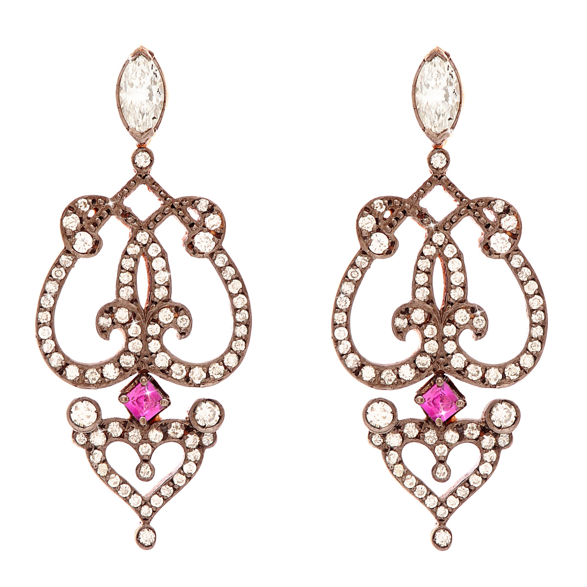 'Marquise' earrings in 18k rose gold set with pave diamonds with rubies