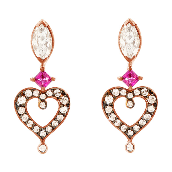 'Love' earrings in 18k rose gold set with pave diamonds