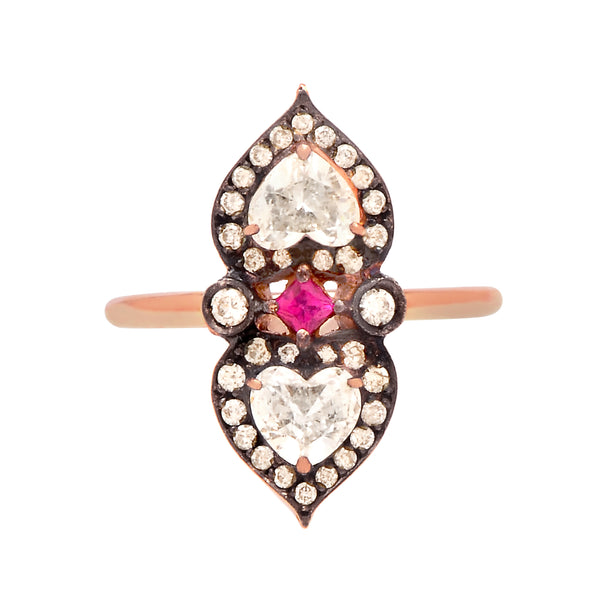 Heart to Heart ring in 18k rose gold set with diamonds and ruby