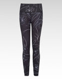 Carbon Wildflower Full Length Gym Leggings - bornnouli