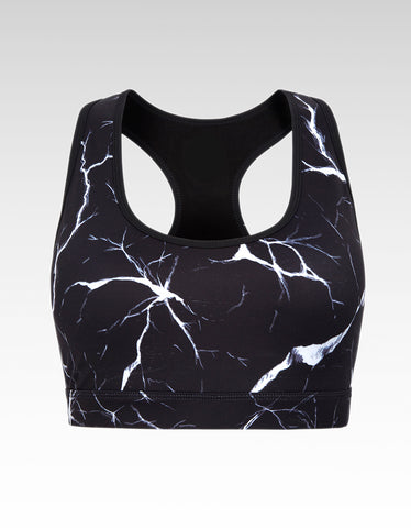 Noir Crackle Sports Crop Bra