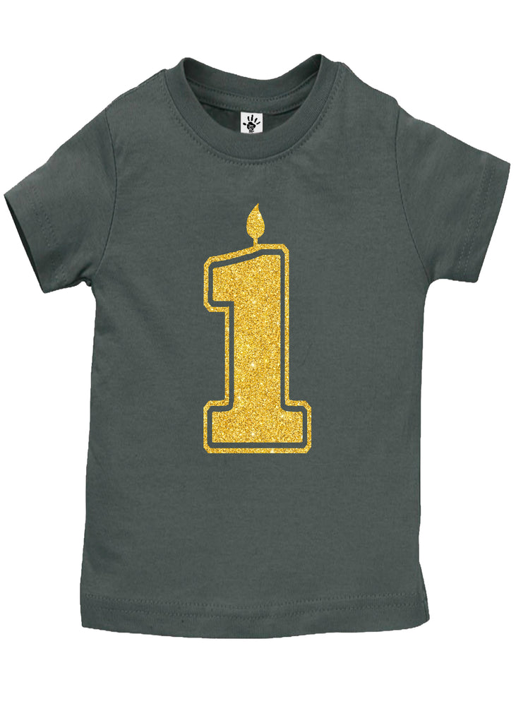 Handmade Boutique Style Baby Boy Girl Clothes - 1 Gold First Birthday Onesie