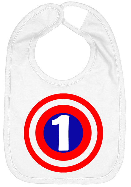 Super Hero 1 Shield First Birthday Smash Cake Bib - Aiden's Corner