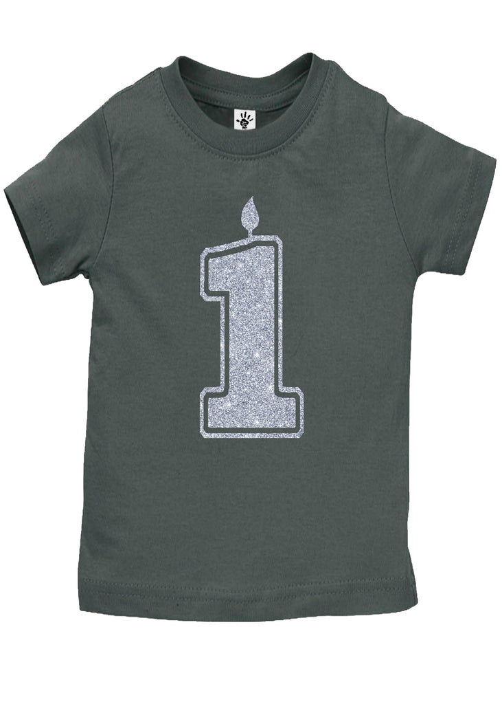 1 Silver First Birthday Shirt - Aiden's Corner Baby Clothes