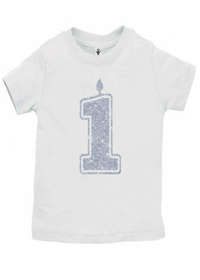 Handmade Boutique Style Baby Boy Girl Clothes - 1 Silver First Birthday Onesie