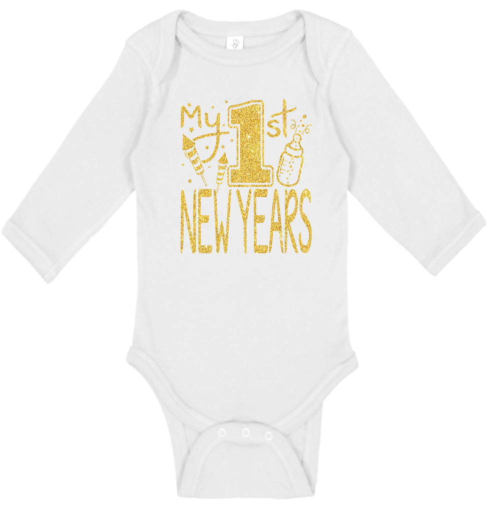 Handmade Boutique Style Baby Boy Girl Clothes - My 1st New Years Onesie
