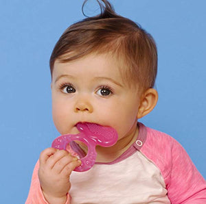 Nuby Silicone Teethe-eez Teether with Bristles Pink - Aiden's Corner