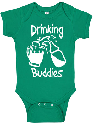 Handmade St Patrick's Day Boy Girl Apparel Drinking Buddies Mug Green Onesie