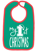 Handmade Boutique Style Baby Bibs - My 1st Christmas Red_Green Bib
