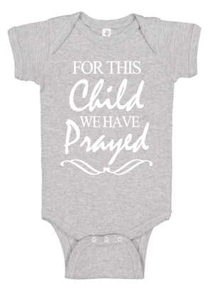 Handmade Boutique Style Baby Boy Girl Christening Clothes - For This Child We Have Prayed Onesie