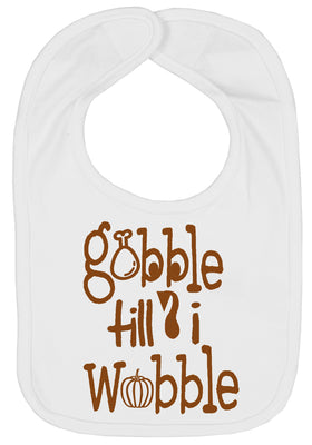 Handmade Boutique Style Baby Thanksgiving Bibs - Gobble Till I Wobble