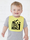 I Dig Being One First Birthday Smash Cake Bib - Aiden's Corner