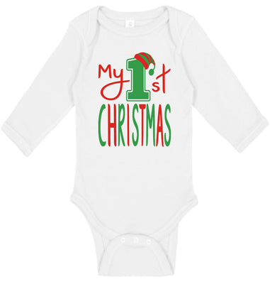 Handmade Boutique Style Holiday Baby Long Sleeve Bodysuit - My 1st Christmas
