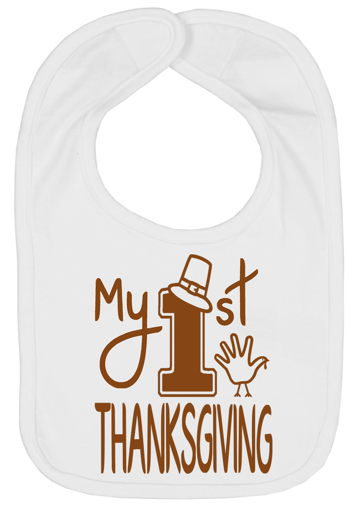 Handmade Boutique Style Holiday Baby Bibs - My 1st Thanksgiving