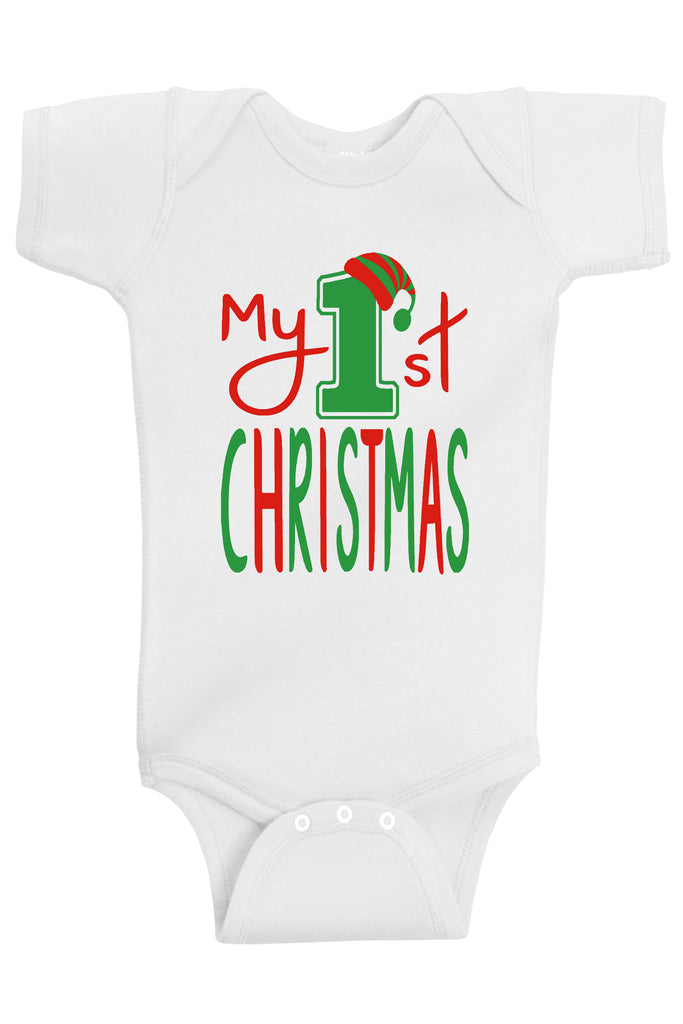 Baby Boy and Baby Girl Clothes | Handmade Infant My First Christmas Bodysuits by Aiden's Corner