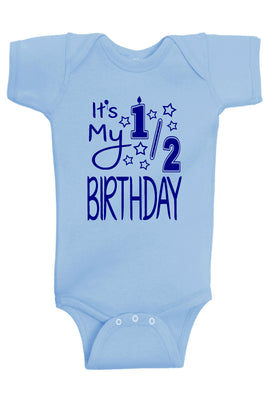 Handmade Boutique Style Baby Boy Clothes - My 1/2 Birthday Onesie
