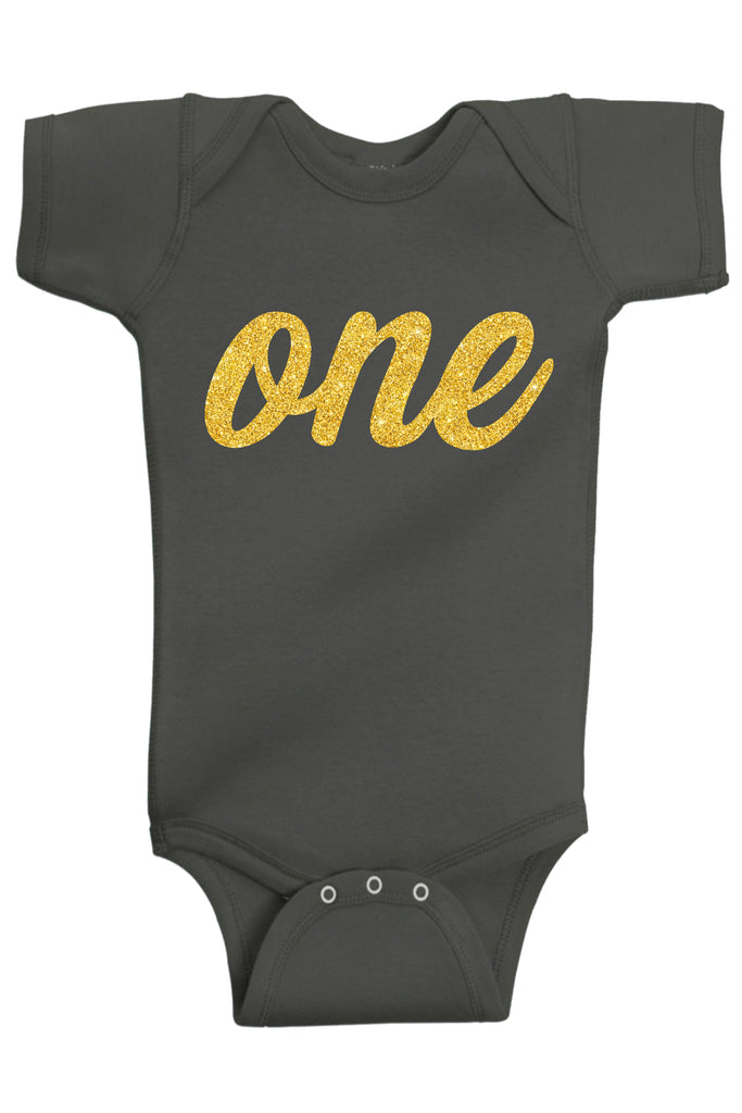 Handmade Boutique Style Baby Boy Girl Clothes - One Gold First Birthday Onesie