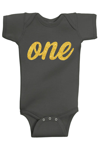 One Gold First Birthday Bodysuit - Aiden's Corner