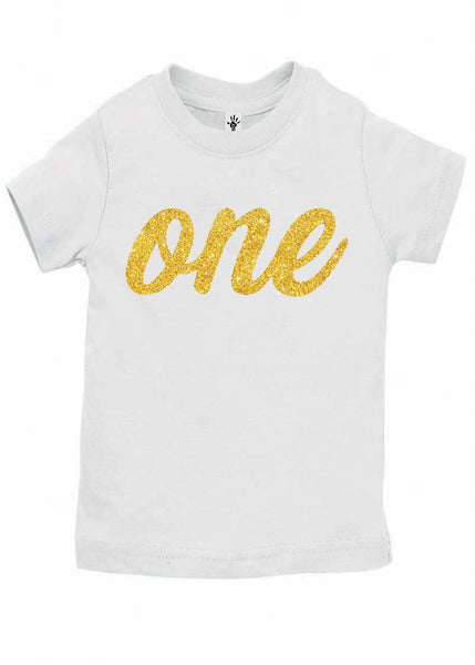 One Gold First Birthday Shirt - Aiden's Corner