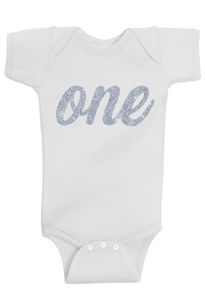 One Silver First Birthday Bodysuit - Aiden's Corner
