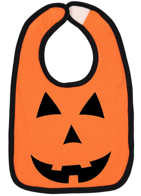 Handmade Boutique Style Baby Boys Girls Bibs - Pumpkin Face Halloween Bib