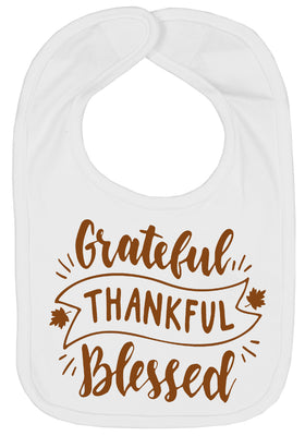 Handmade Boutique Style Baby Thanksgiving Bibs - Grateful Thankful Blessed