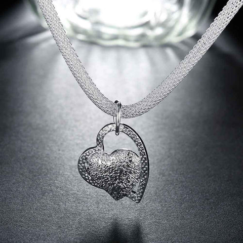 925 silver floating heart pendant charm necklace sxswchic 925 silver floating heart pendant charm necklace mozeypictures Image collections