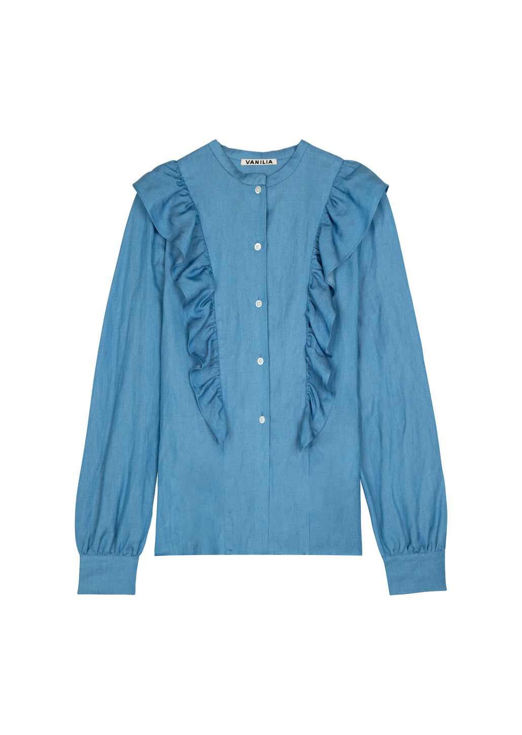 Ruffle blouse in jeansstof