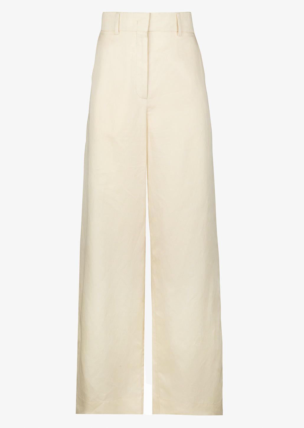 Linnen wide leg dames broek in beige