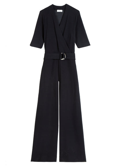 Jumpsuit met wrap in ribkwaliteit