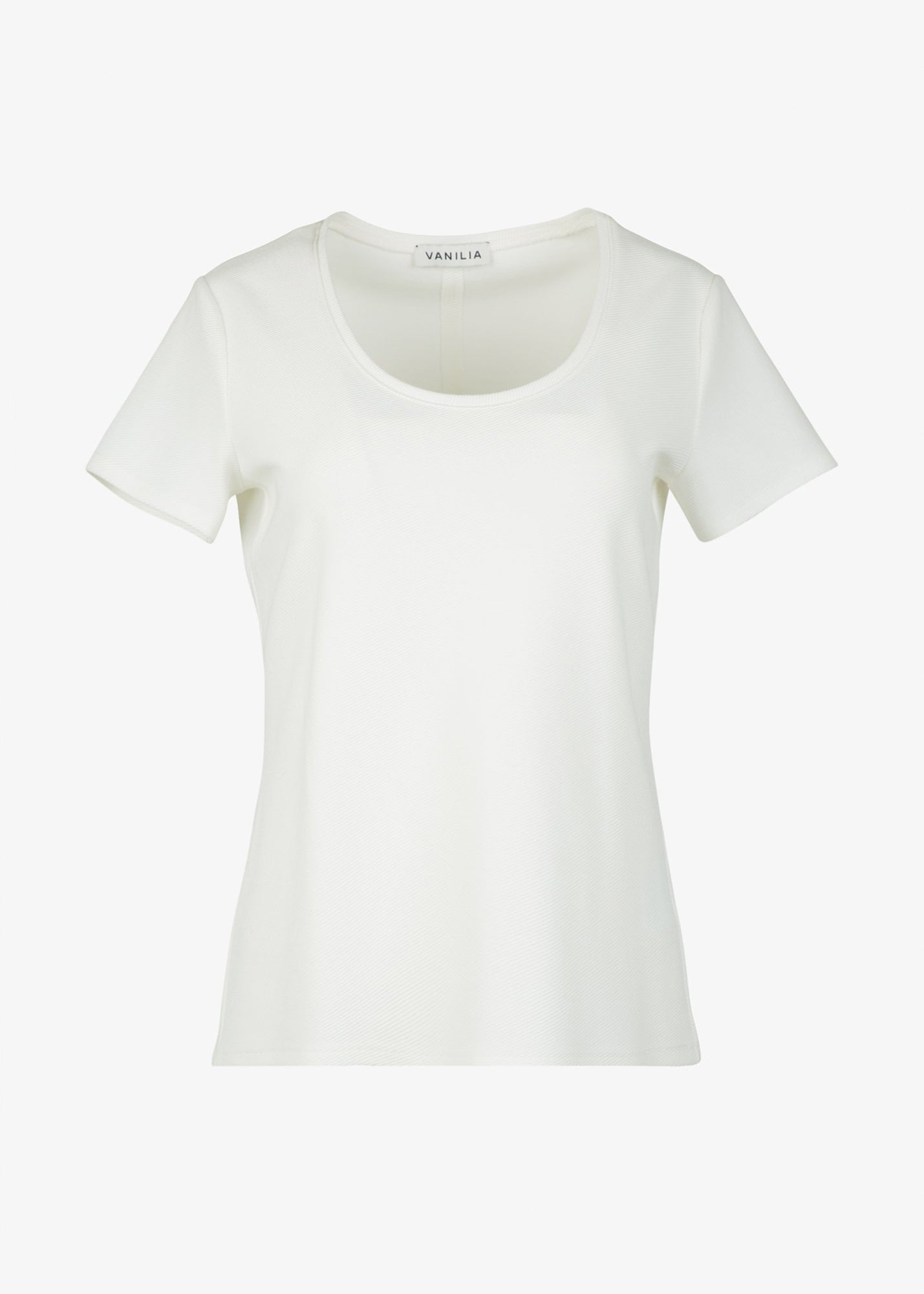 Wit dames t-shirt in rib kwaliteit