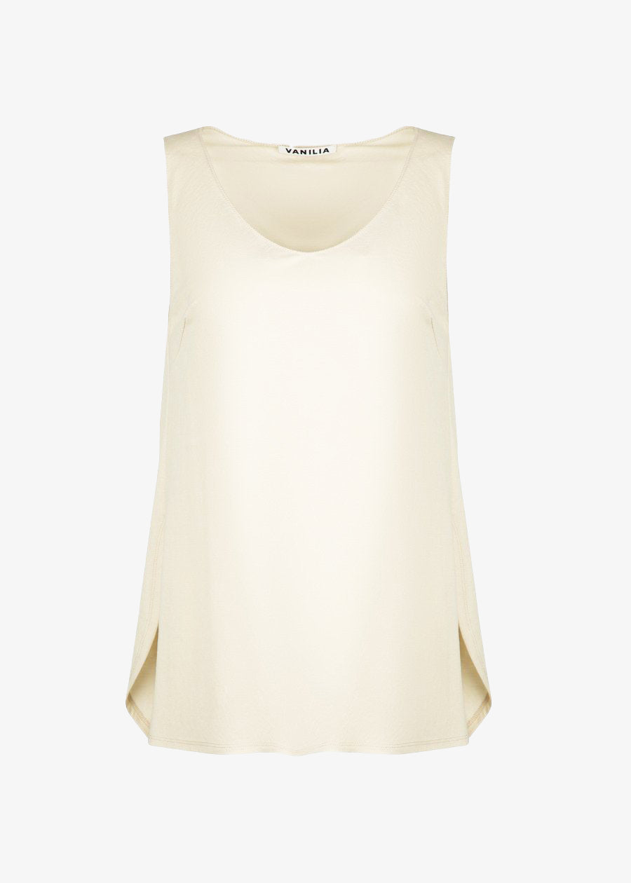 Basis dames top in soepele beige stof