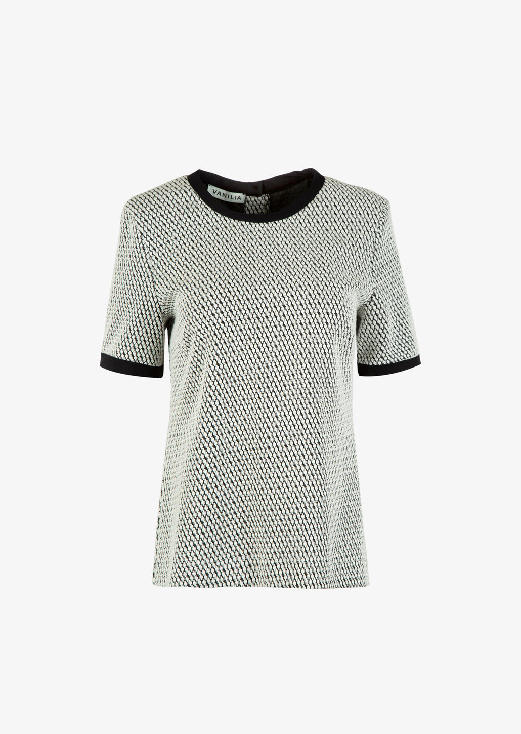 jacquard tricot top met constrasterende band