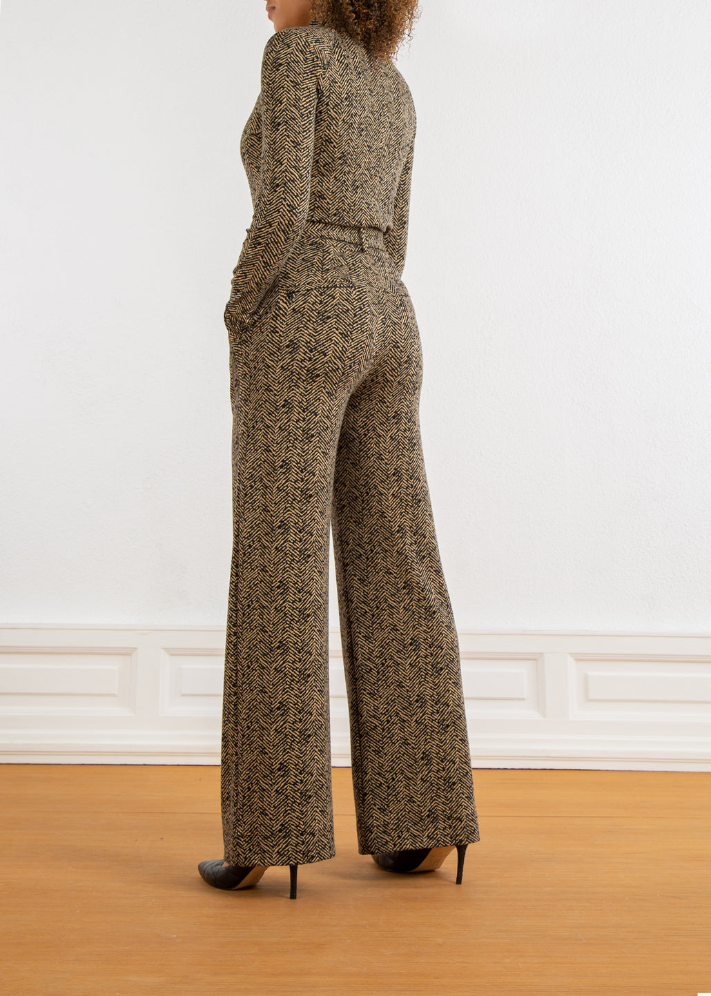 loose-fit pantalon met tweed print