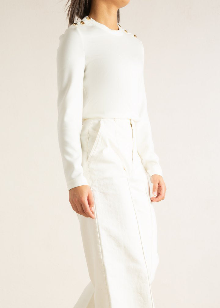 Witte top in foam stretch zijkant