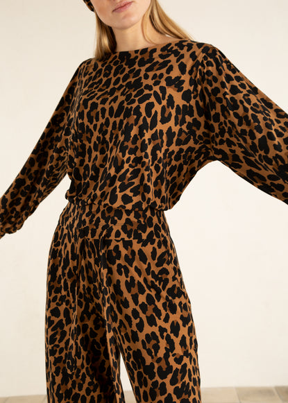 leopard top met relaxte fit