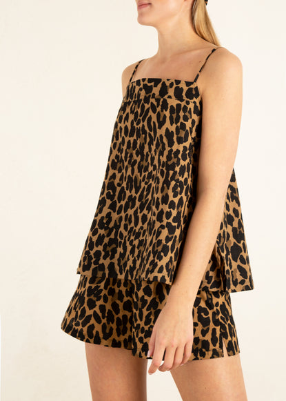 short leopard print met top