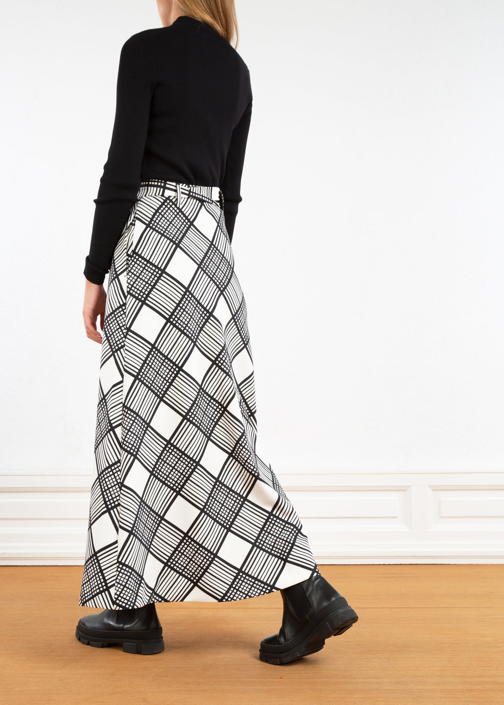 Stretch rok met ruitprint